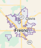 Map of Fresno, California