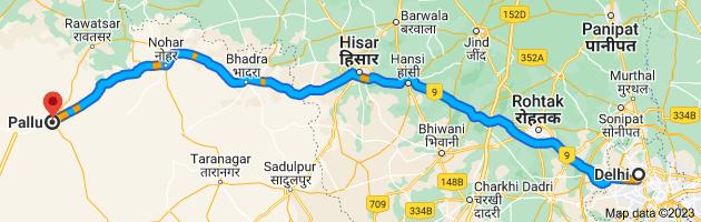 Map from Delhi to Pallu, Rajasthan 335524