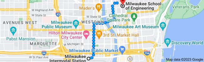Map from Milwaukee Intermodal Station, 433 W St. Paul Avenue, Milwaukee, WI 53203 to Milwaukee School of Engineering, 1025 N Broadway, Milwaukee, WI 53202