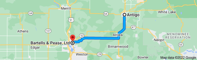 Map from Antigo, Wisconsin 54409 to Bartells & Pease, Ltd, 613 Forest St, Wausau, WI 54403
