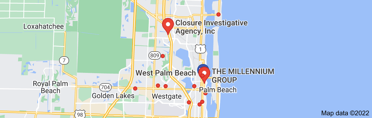 Map of private investigator west palm beach