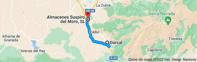 Mapa de Dúrcal, 18650, Granada a Almacenes Suspiro del Moro, SL, Carr. Bailén-Motril, Km 145, 18630 Otura, Granada, Granada