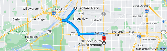 Map from Bedford Park, Illinois to 10522 S Cicero Ave, Oak Lawn, IL 60453