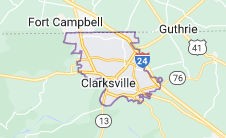 Map of Clarksville, Tennessee
