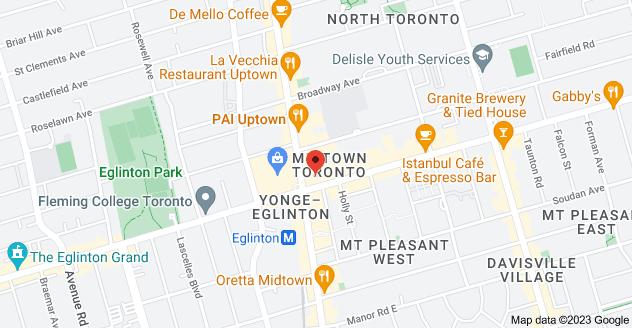 Map of 8 Eglinton Ave E, Toronto, ON M4P 1A6