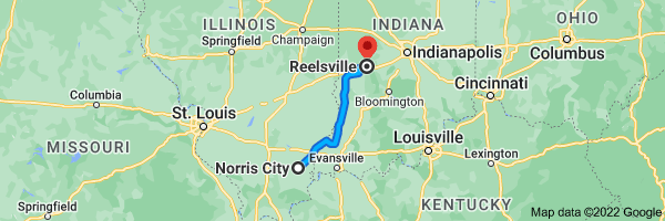 Map from Norris City, Illinois 62869 to                   Reelsville, Indiana 46171