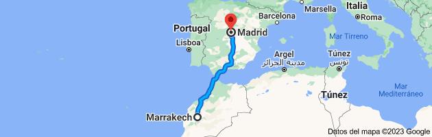 Mapa de Marrakech, Marruecos a Madrid