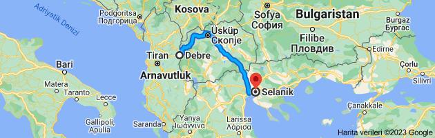 Debre, Kuzey Makedonya - Selanik, Yunanistan güzergahının haritası