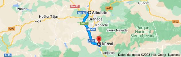Mapa de Albolote, 18220, Granada a Dúrcal, 18650, Granada