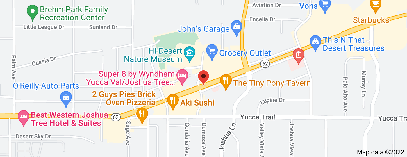 Location of Hwy 62 & Dumosa (Bank of America)