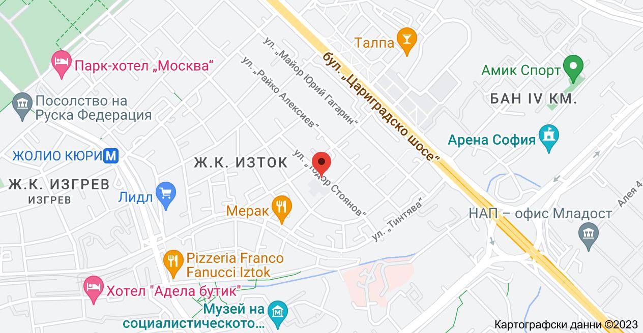 """Карта на ул. """"Тодор Стоянов"""" 18, 1113 ж.к. Изток, София"""