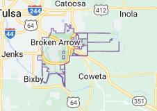 Map of Broken Arrow, Oklahoma