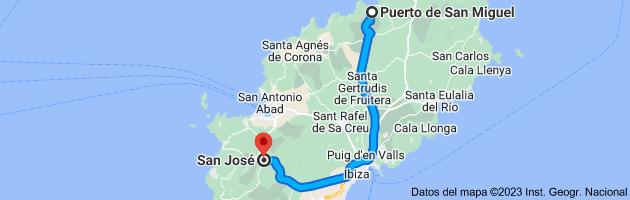 Mapa de Puerto de San Miguel, 07815, Islas Baleares a San José, 07830, Islas Baleares
