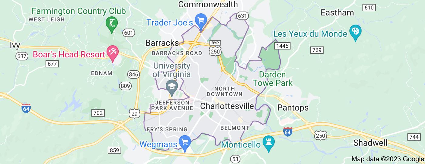 Location of Charlottesville
