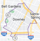 Map of Downey, California