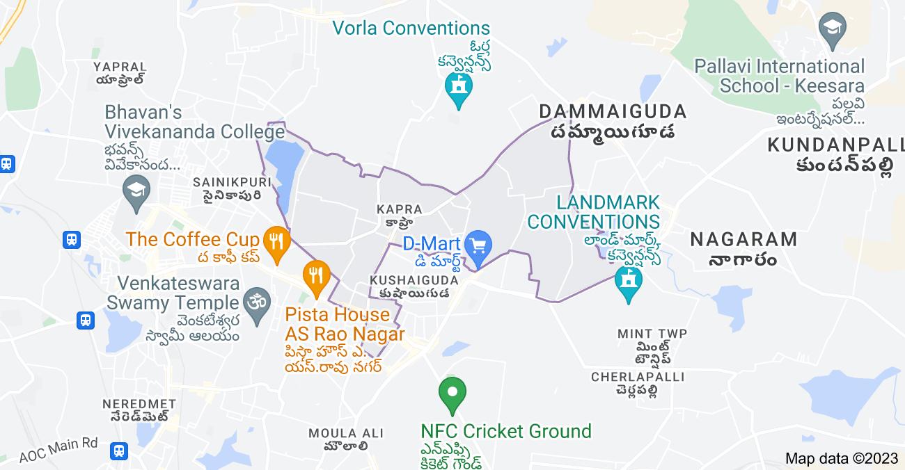Map of Kapra, Secunderabad, Telangana, India