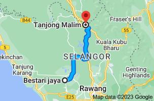 Map from Bestari Jaya, Selangor, Malaysia to Tanjong Malim, Perak, Malaysia