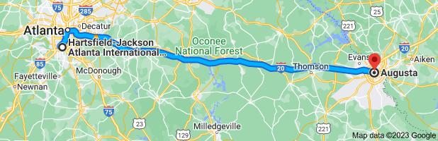 Map from Hartsfield-Jackson Atlanta International Airport (ATL), 6000 N Terminal Pkwy, Atlanta, GA 30320 to Augusta, Georgia