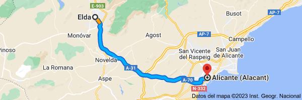 Mapa de Elda, 03600, Alicante a Alicante