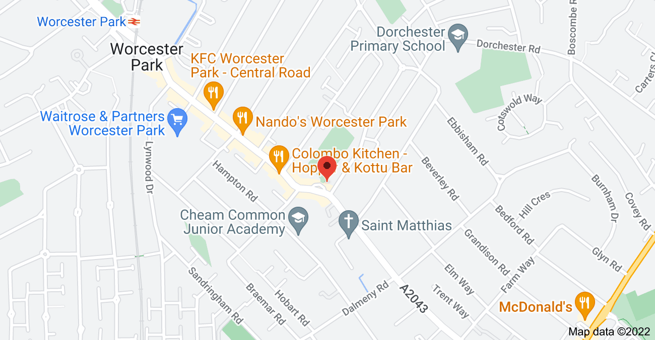 Map of 204 Cheam Common Rd, Worcester Park KT4 8QJ