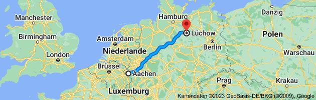 Karte von Aachen nach Lüchow, 29439