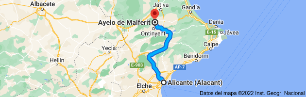 Mapa de Alicante a Ayelo de Malferit, 46812, Valencia