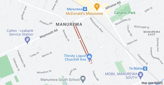 Location of Churchill Avenue