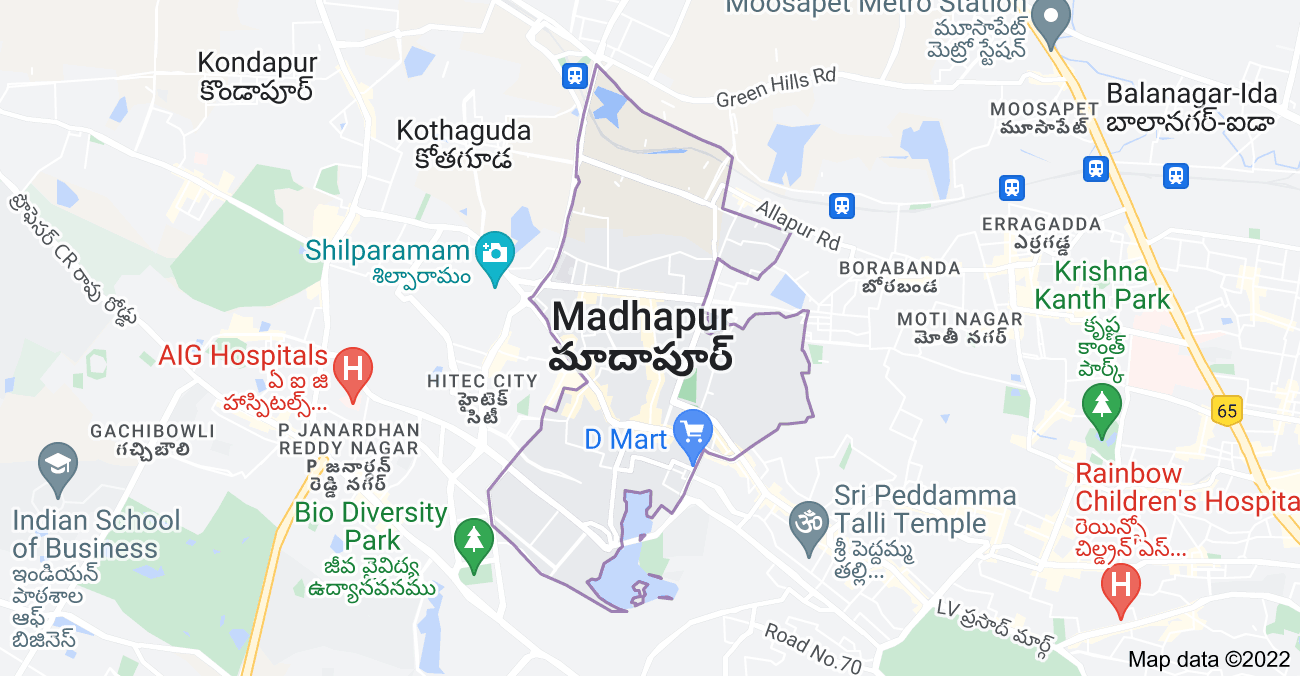 Map of Madhapur, Telangana, India