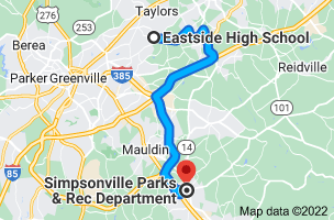 Map from Eastside High School, 1300 Brushy Creek Rd, Taylors, SC 29687 to Simpsonville Parks & Rec Department, 310 W Curtis St, Simpsonville, SC 29681