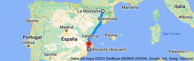 Mapa de La Massana, AD400, Andorra a Alicante (Alacant), Alicante
