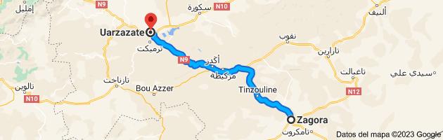 Mapa de Zagora, Marruecos a Uarzazate, 45000, Marruecos