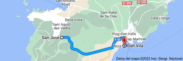 Mapa de San José, 07830, Islas Baleares a Dalt Vila, 07800 Ibiza, Islas Baleares