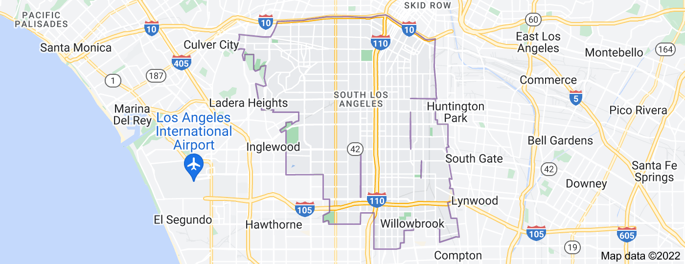 Location of South Los Angeles