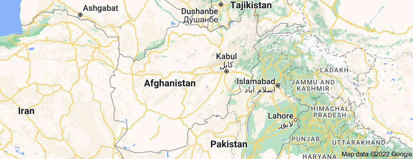 Location of Afghanistan