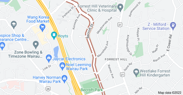 Location of Becroft Drive