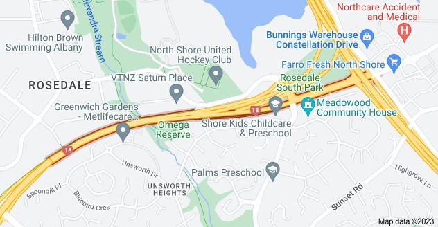Location of Upper Harbour Highway