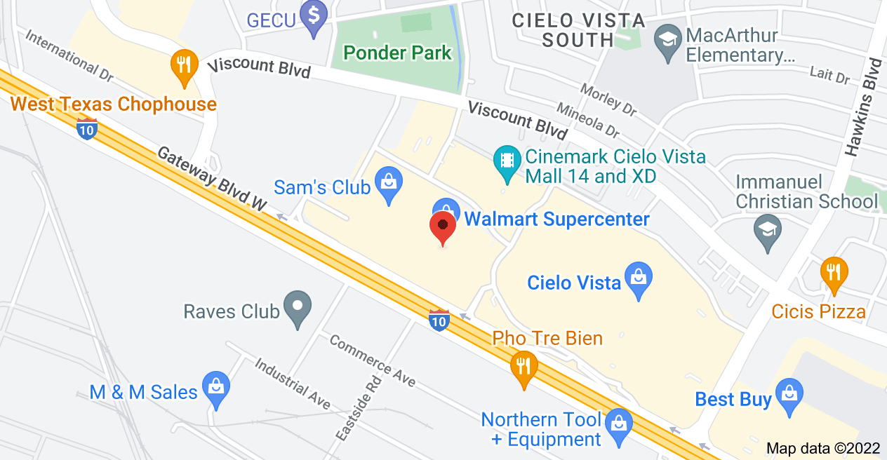 Map of 7101 Gateway Blvd W, El Paso, TX 79925, USA