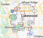 Map of Lakewood, Colorado