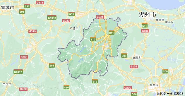 中華人民共和国 浙江省 湖州市 安吉県の地図