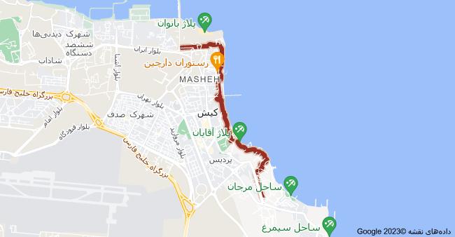 نقشه كيش، مسیر دوچرخه سواری
