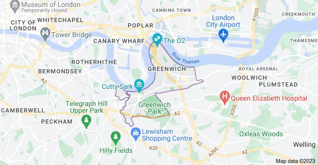 Map of Greenwich, London