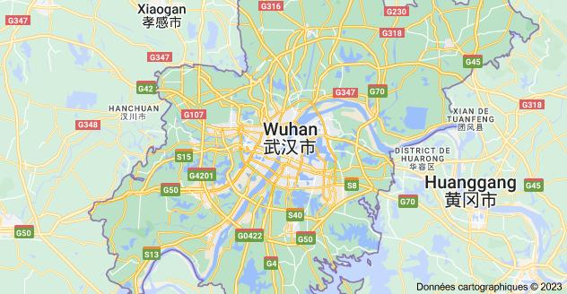 Wuhan, Hubei, Chine: carte