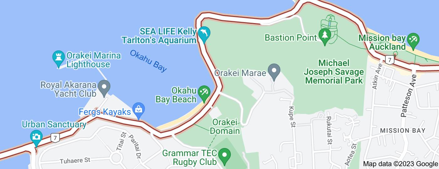 Location of Tamaki Drive