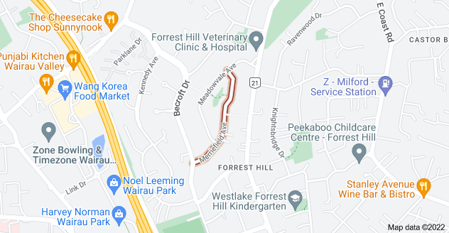 Location of Merriefield Avenue