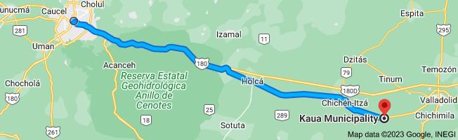Map to Kaua Municipality, Yucatan