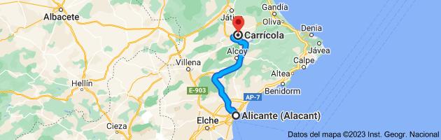 Mapa de Alicante (Alacant), Alicante a Carrícola, 46869, Valencia