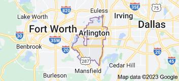 Map of Arlington, Texas