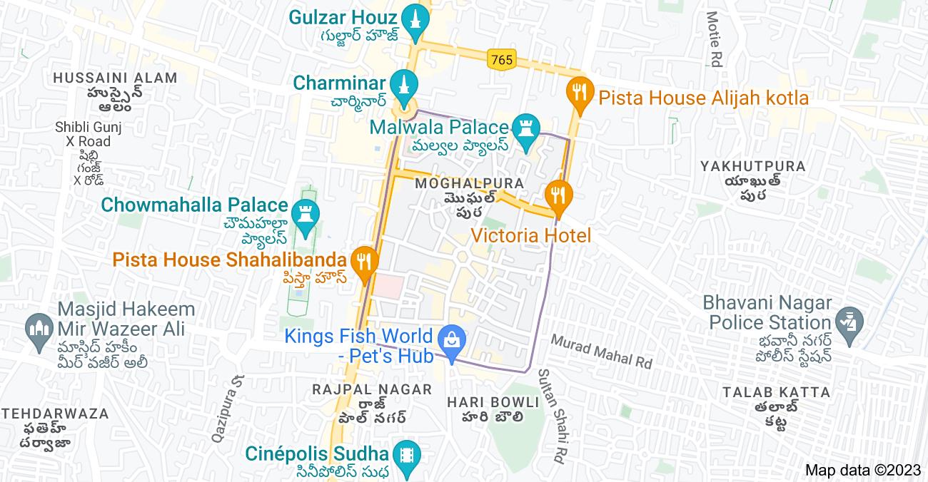 Map of Moghalpura, Hyderabad, Telangana 500002, India