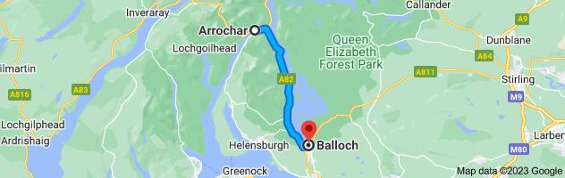 Map from Arrochar, United Kingdom to Balloch, Alexandria, UK