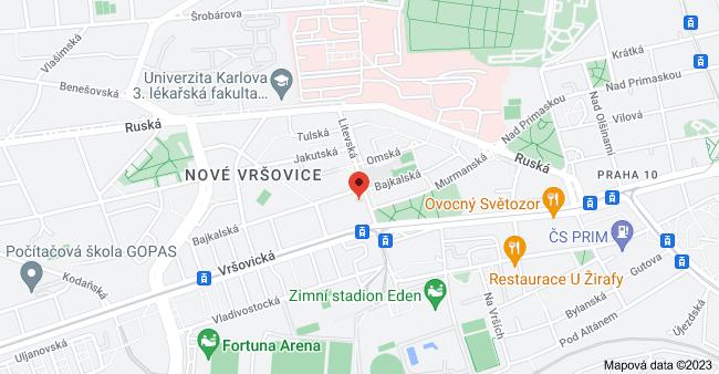 Mapa oblasti Litevská 1282, 100 00 Praha 10-Vršovice